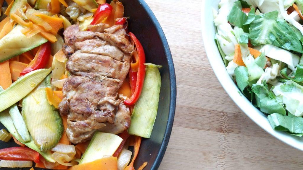 ירקות וחזה עוף במחבת שחר תזונה בריאה